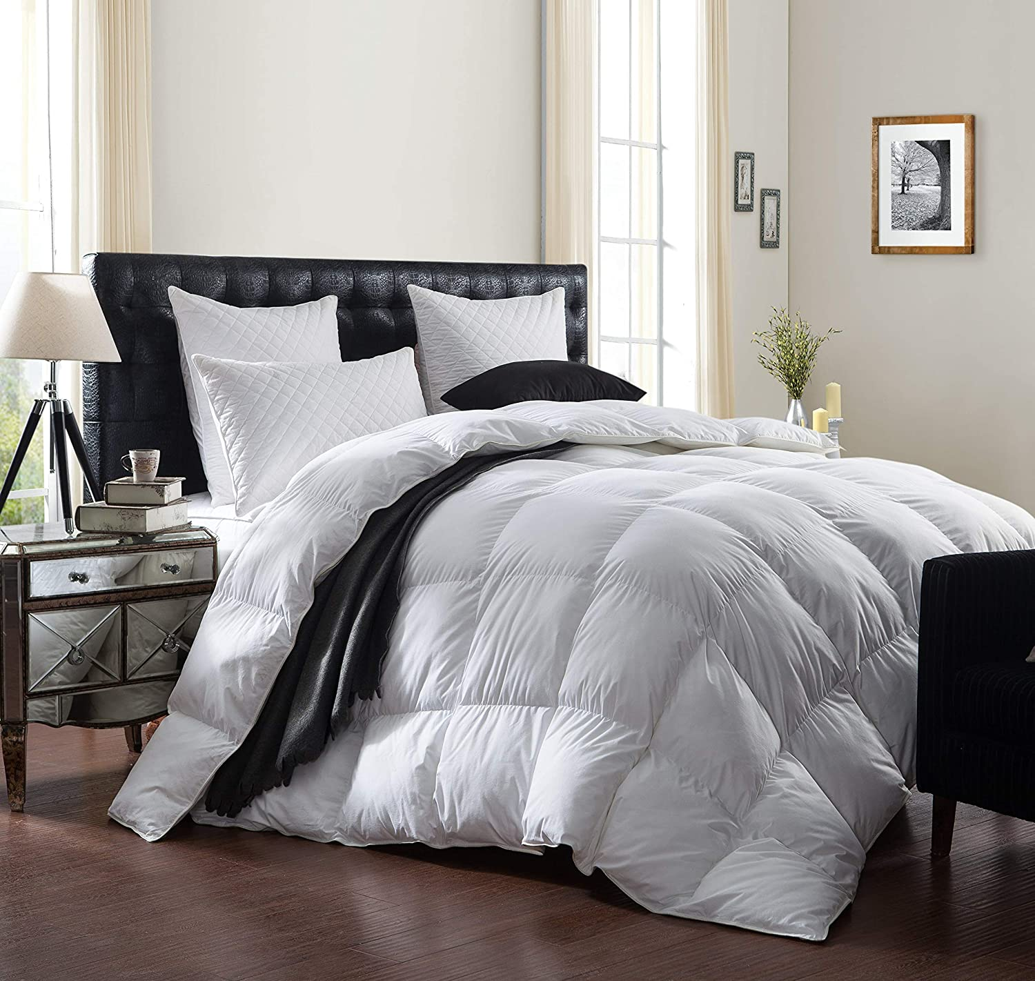 Luxurious 1200 Thread Count Goose Down Comforter Duvet Insert, King Size, 1200TC - 100% Egyptian Cotton Cover
