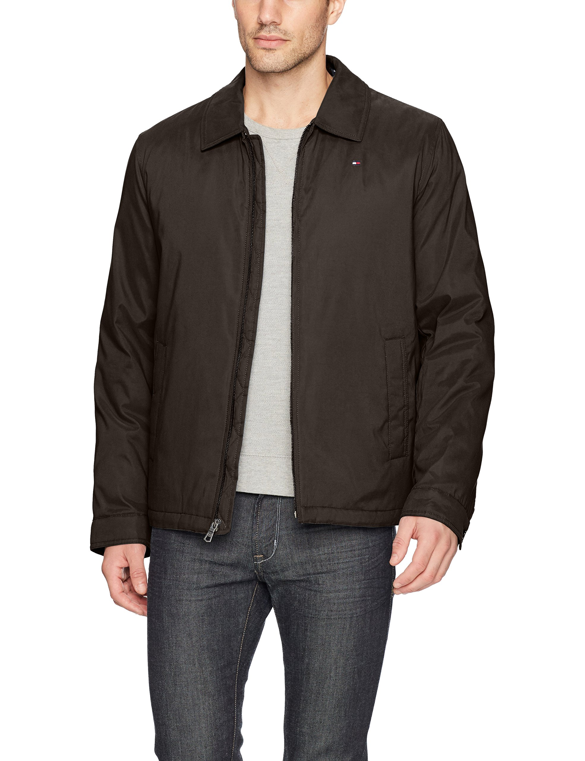 Tommy Hilfiger Men's Micro-Twill Open-Bottom Zip-Front Jacket, Dark Brown, Large by Tommy Hilfiger