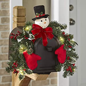 The Lakeside Collection Prelit Solar Christmas Garland Swag for Mailbox – Snowman