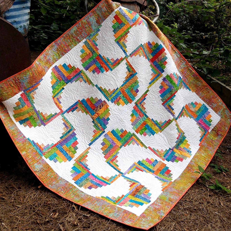 Amazon Com Rainbow Swirls Curvy Log Cabin Quilt Pattern By Cut