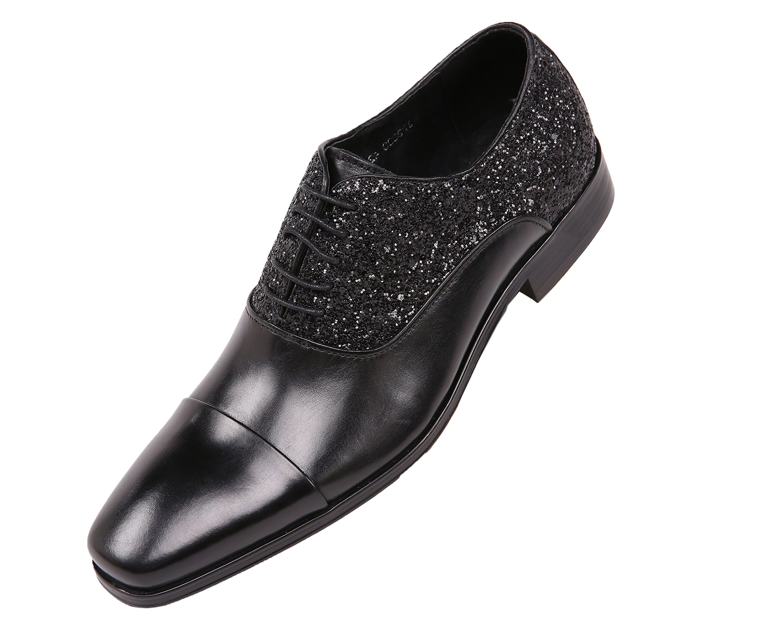 Asher Green Mens Genuine Leather and Glitter Encrusted Cap Toe, Lace up Oxford Dress Shoe, Style AG900