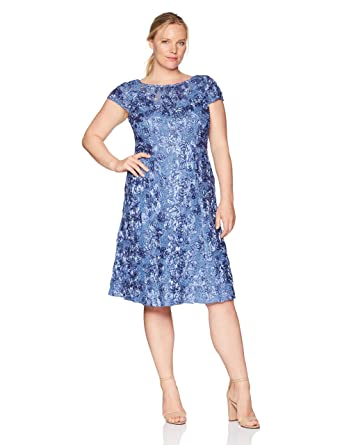 ee0adc058c Alex Evenings Women's Plus Size Tea Length Rosette Dress with Sequin  Detail, Brushed Periwinkle 14W at Amazon Women's Clothing store: