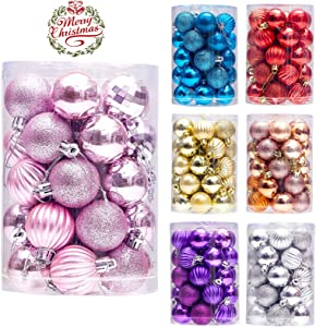 """LancerPac 34ct Christmas Ball Ornaments Shatterproof Christmas Hanging Tree Decorative Balls for Party Holiday Wedding Decor Pink, 1.57"""",40mm"""