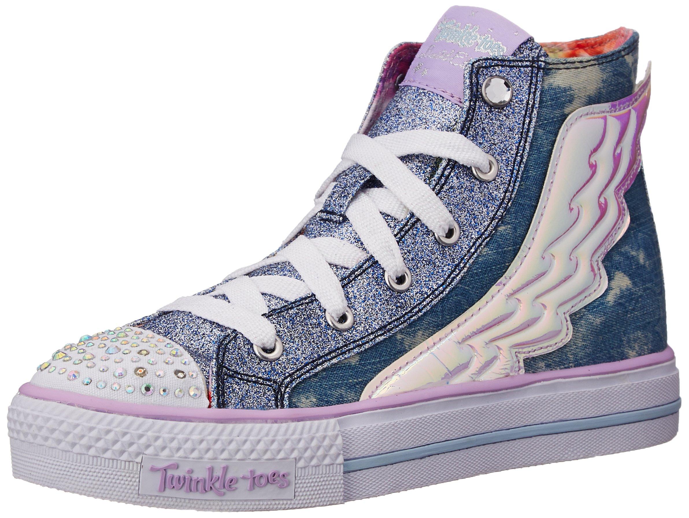 SKECHERS KIDS Girl's Twinkle Toes - Shuffles 10565L Lights (Little Kid/Big Kid) Denim Shoe