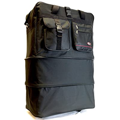 "36"" Rolling 3 Tiers Expandable Wheeled Duffle Bag / Lightweight Spinner Suitcase Luggage (22"" x 14"" x 36"")"