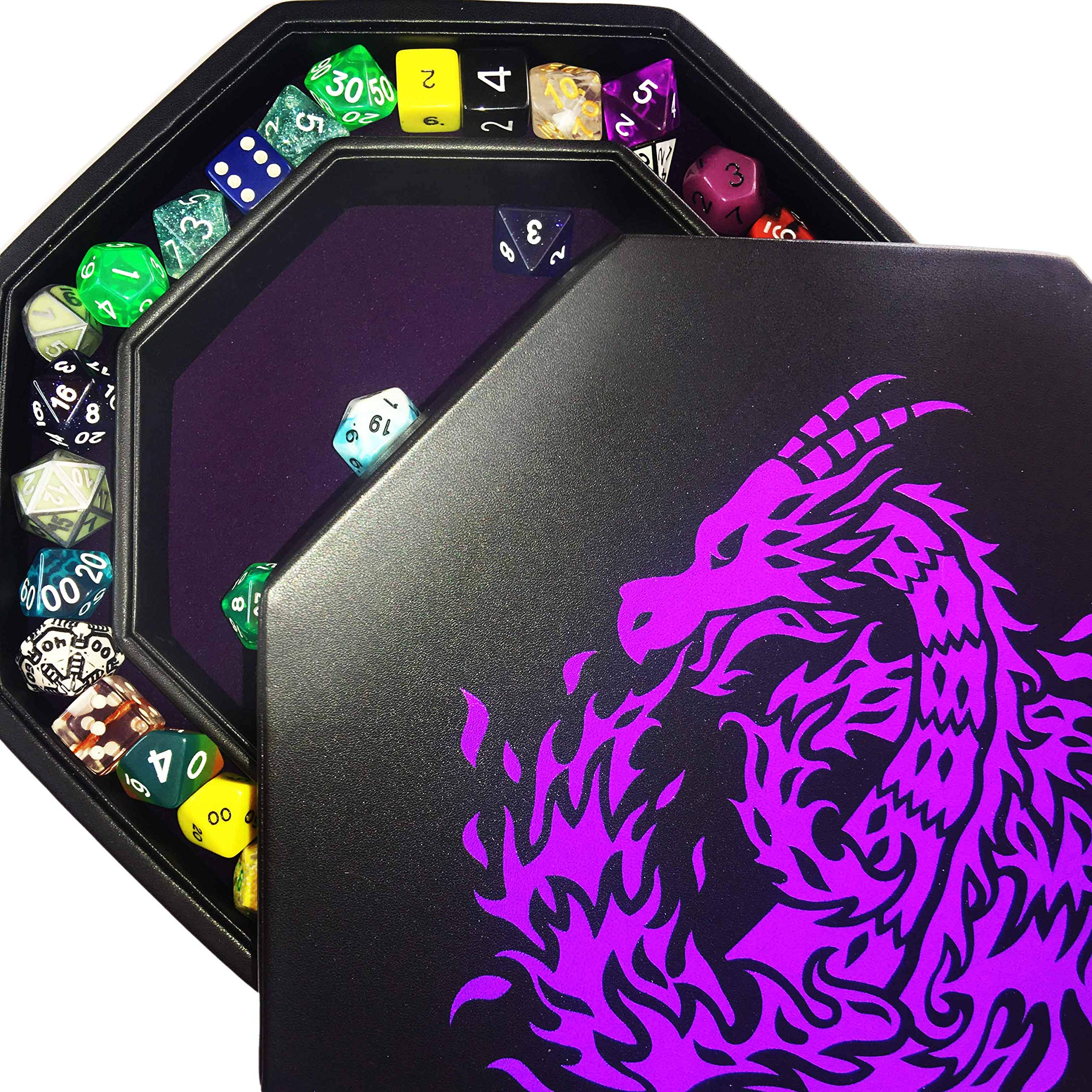 Fantasydice- Purple - Fire Dragon - Dice Tray - 8'' Octagon with Lid and Dice Staging Area- Holds 5 Sets of Dice(7 / Standard) For All Tabletop RPGs Like D&D , Call of Cthulhu, Shadowrun.