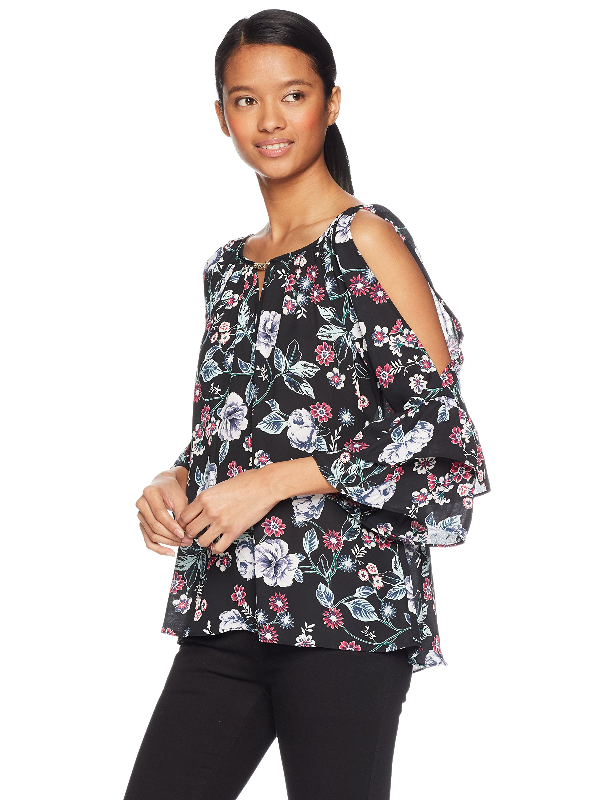A. Byer 3/4 Tiered Sleeve Keyhole Top (Junior's), Lilac Floral, M