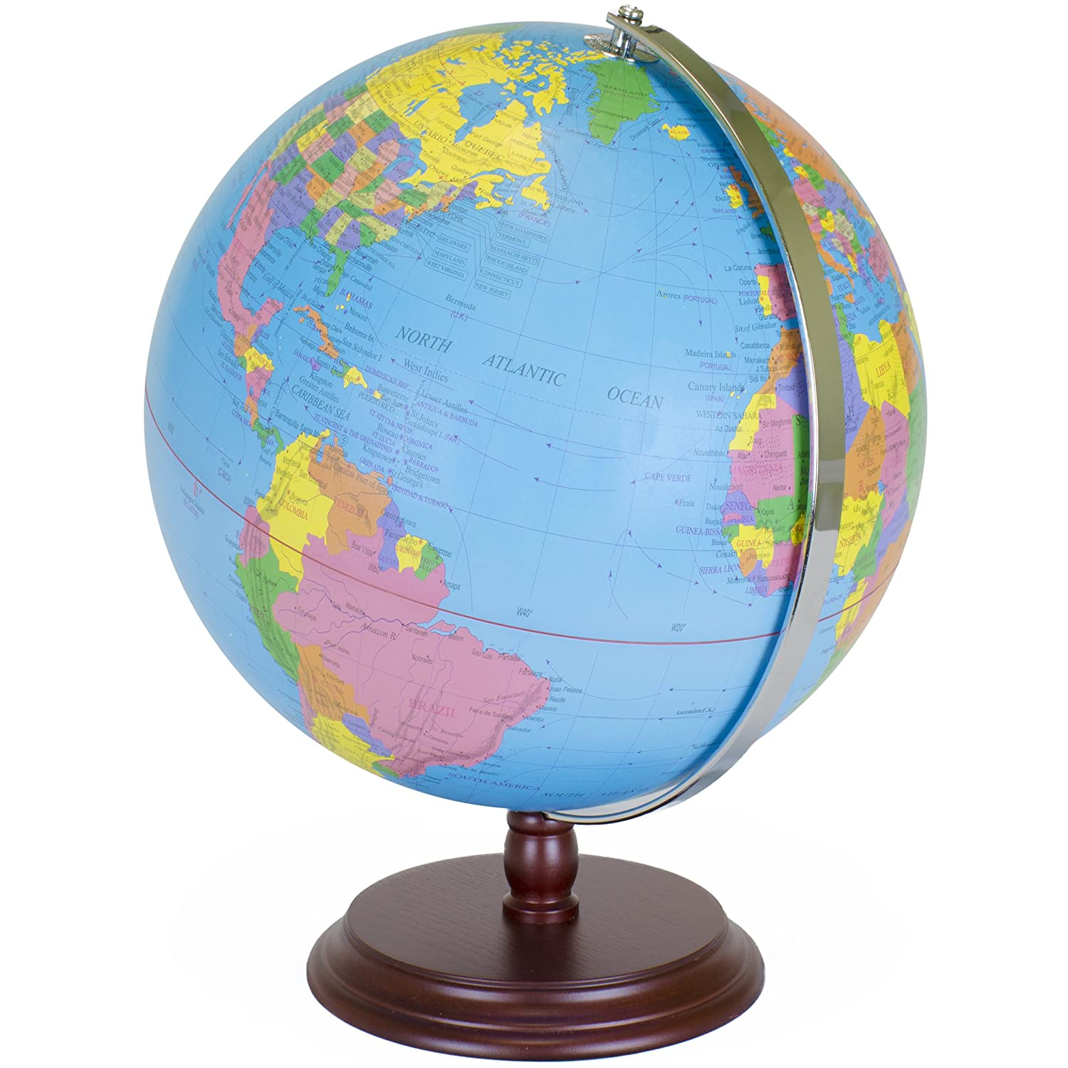 World Globe | 12 Inch Desktop Atlas with Antique Stand | Earth with Political Maps + Blue Oceans for Educational Geography | Classic Globo Vintage Spinning Perfect for Geographical National Kids Toys Novo Basics