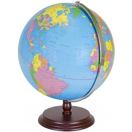 Atlas Globe Map.Amazon Com World Globe 12 Inch Desktop Atlas With Antique Stand