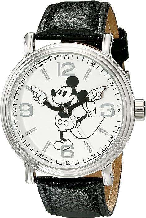 Disney Men W001853 Mickey Mouse SilverTone Watch With Black FauxLeather Band