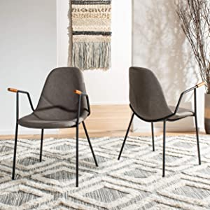 Safavieh Home Tanner Mid-Century Ash Faux Leather and Black Dining Chair, Set of 2