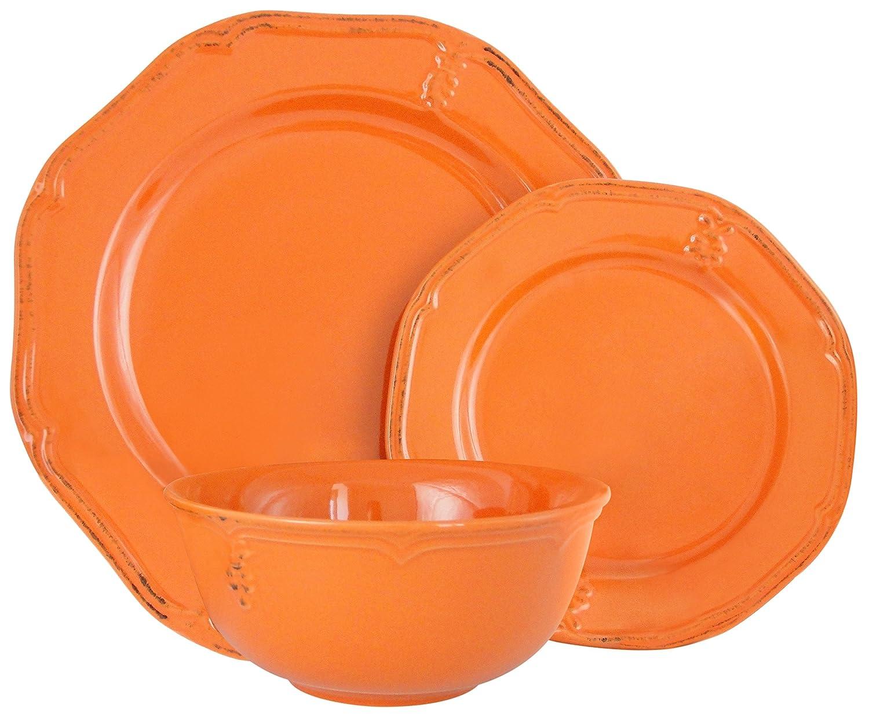 Melange Stoneware Juego de vajilla de 18 piezas (naranja antiguo ...