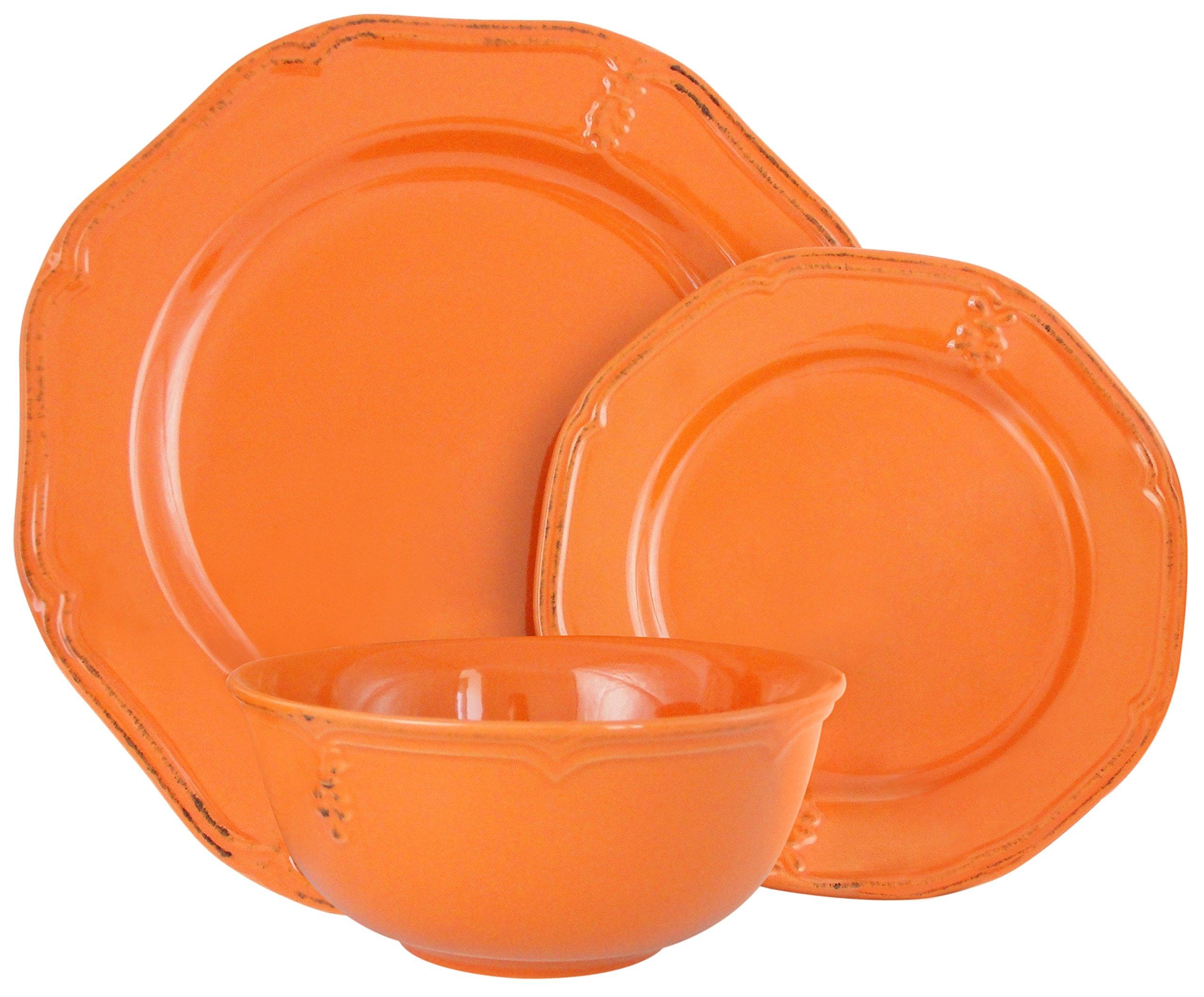 Melange Stoneware 36-Piece Dinnerware Set (Antique Orange) | Service for 6| Microwave, Dishwasher & Oven Safe | Dinner Plate, Salad Plate & Soup Bowl (12 Each)
