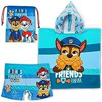 Bañador Niño, Poncho Toalla y Bolsa Tela de La Patrulla Canina - Pack de Playa y Piscina con Bolsa de Tela para Guardar…