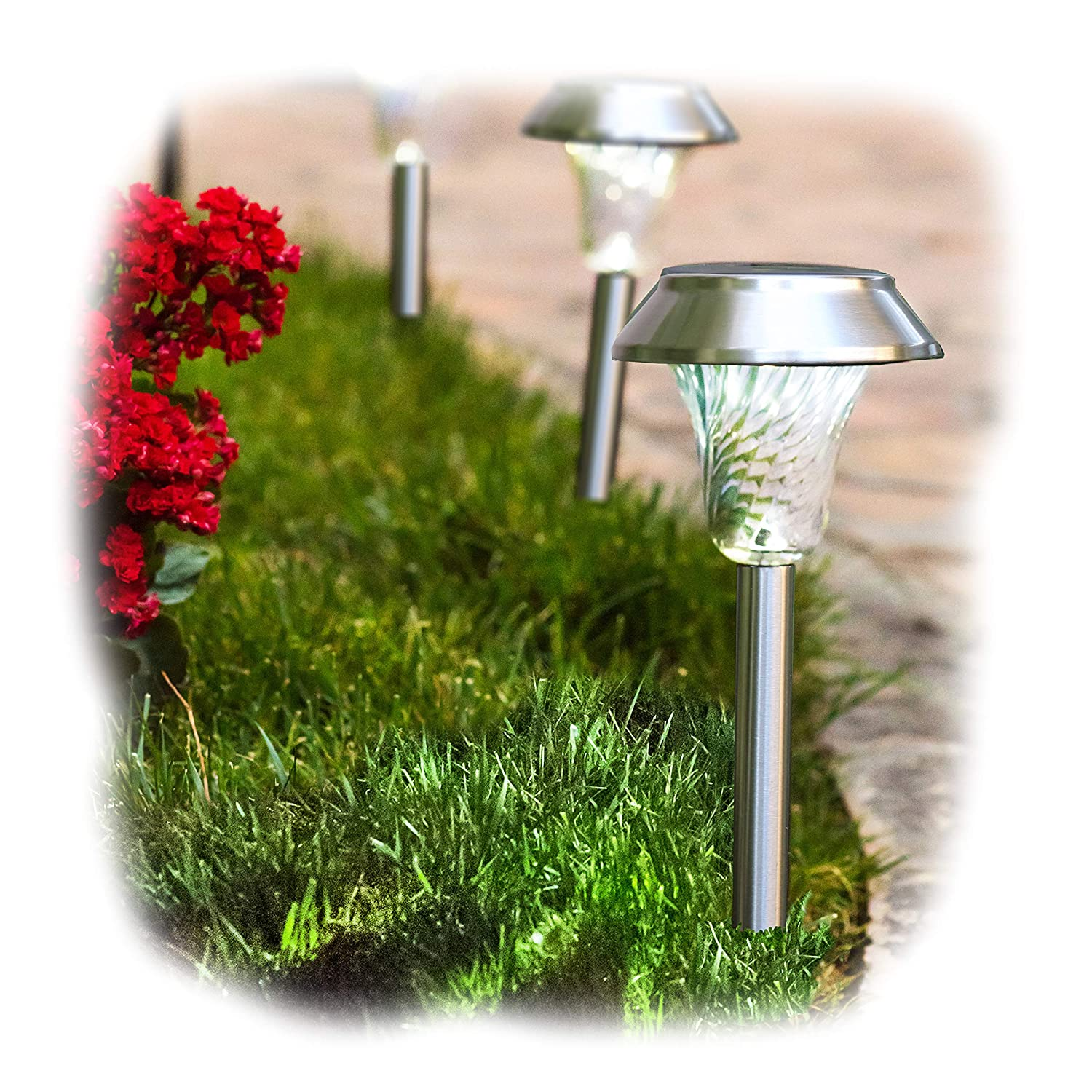 Enchanted Spaces Silver Solar Path Light, Set of 6, with Glass Lens, Metal Ground Stake, and Extra-Bright LED