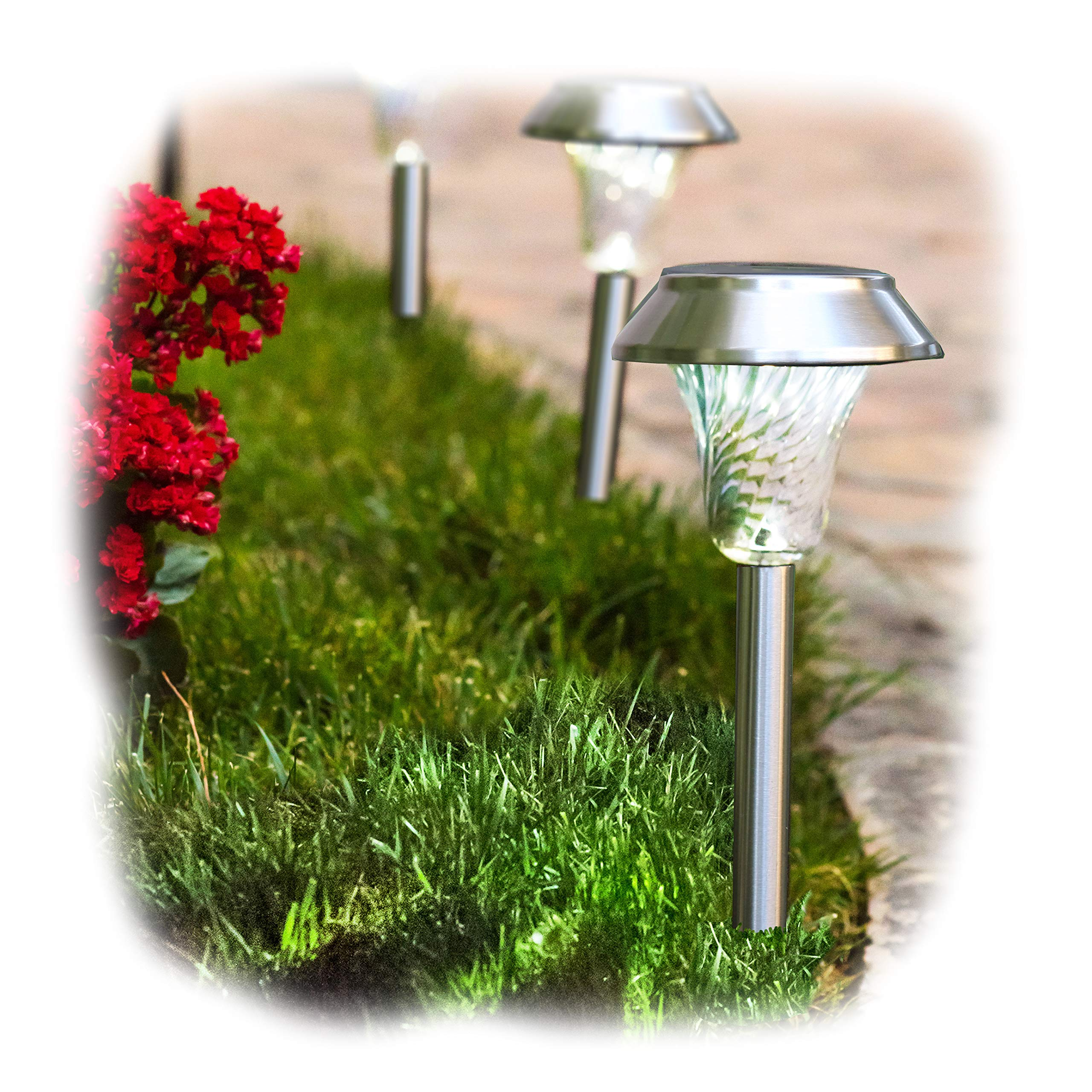 Enchanted Spaces Silver Solar Path Light, Set of 6, with Glass Lens, Metal Ground Stake, and Extra-Bright LED by Enchanted Spaces