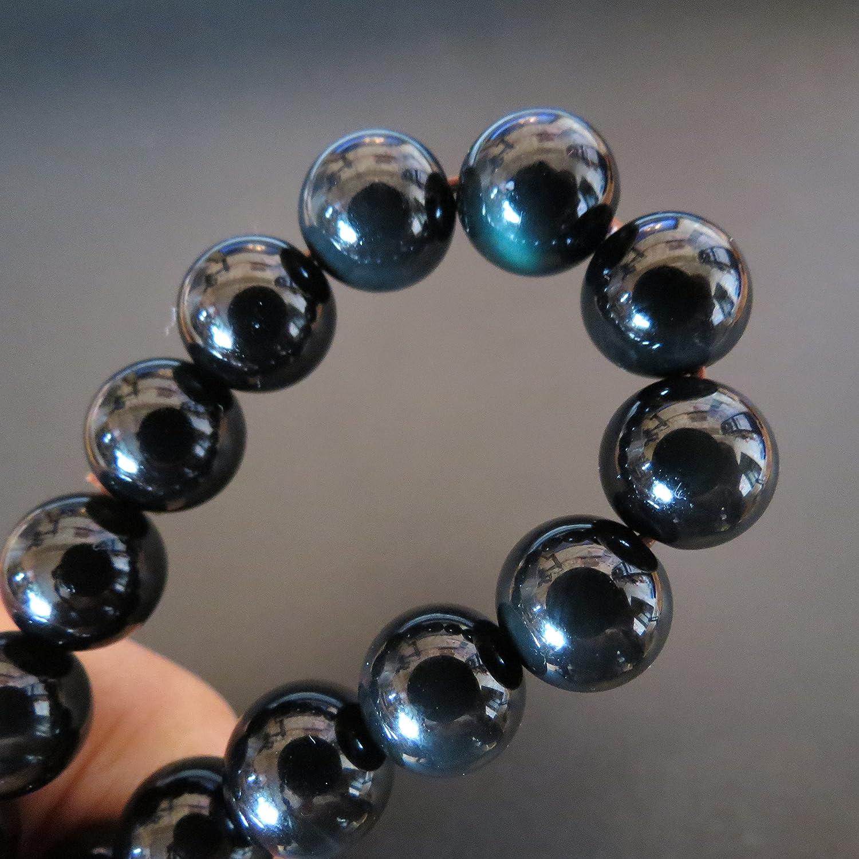 10mm Natural Green Alien Eye Obsidian Round Beads Healing Stone Elastic Bracelet Miyallu (Ship from Canada)