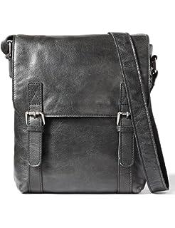 Leather Architect Mens 100/% Leather Cross Over Messenger Bag Black