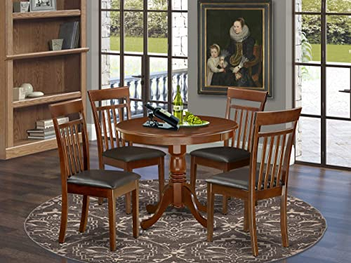 East West Furniture ANCA5-MAH-LC Kitchen Dining Table Set