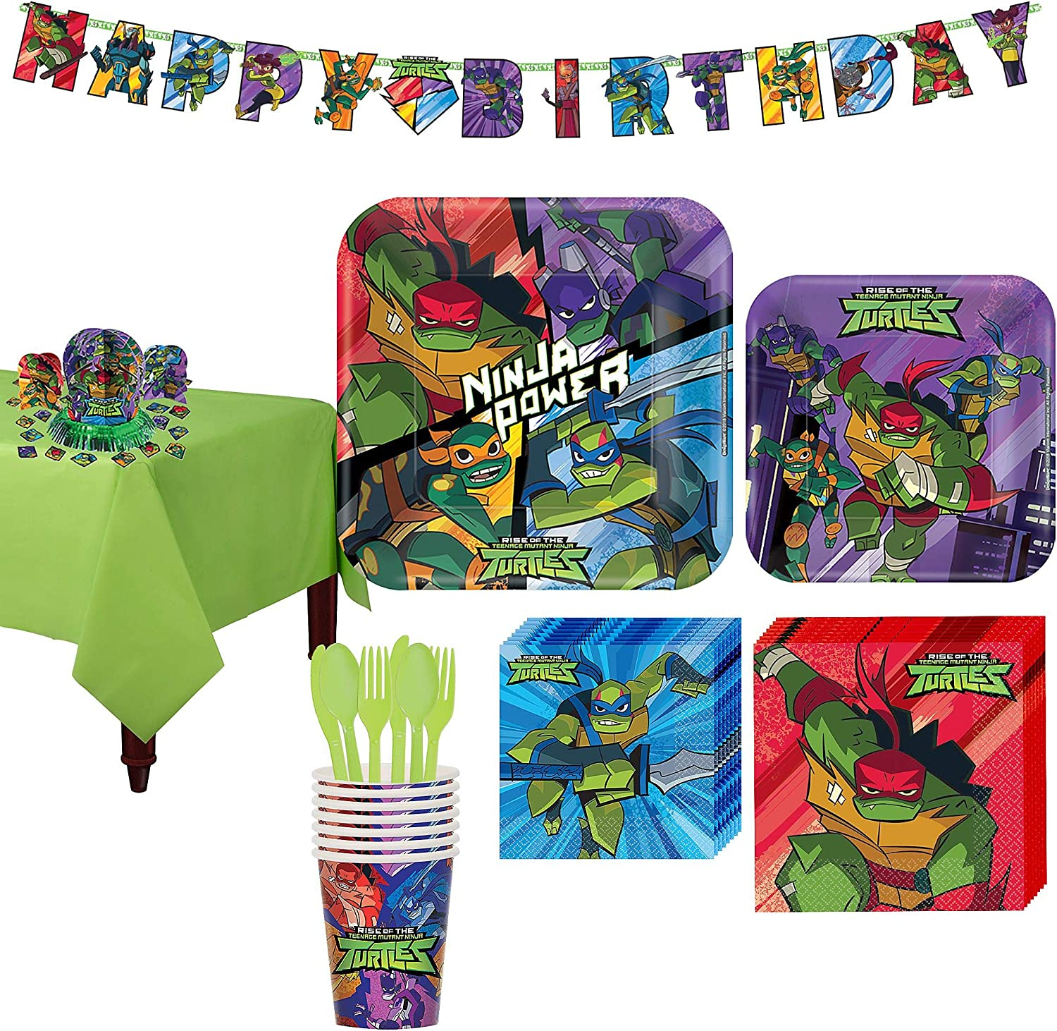 Party City Rise of the Teenage Mutant Ninja Turtles Party Kit, Includes Tableware, Tablecloths and Decor; 8 Guests
