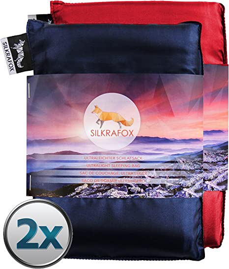ultralight sleeping bag liner for 2 persons Silkrafox for 2 artificial silk