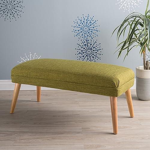 Dumont Mid Century Modern Fabric Ottoman Green