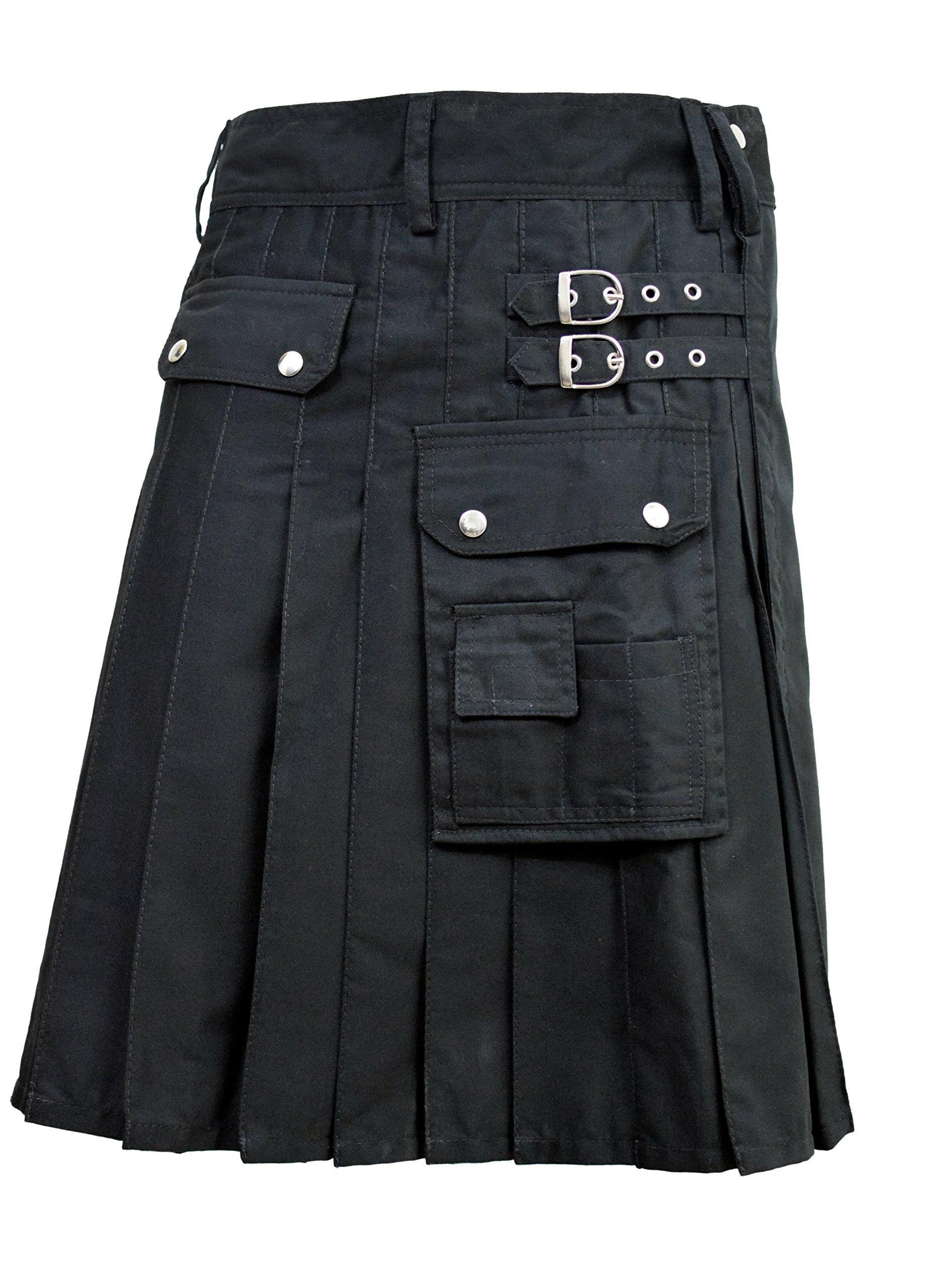 SHYNE_ENTERPRISES Alternative Utility Kilt Black Cotton Canvas All Sizes Modern Kilts (34'')