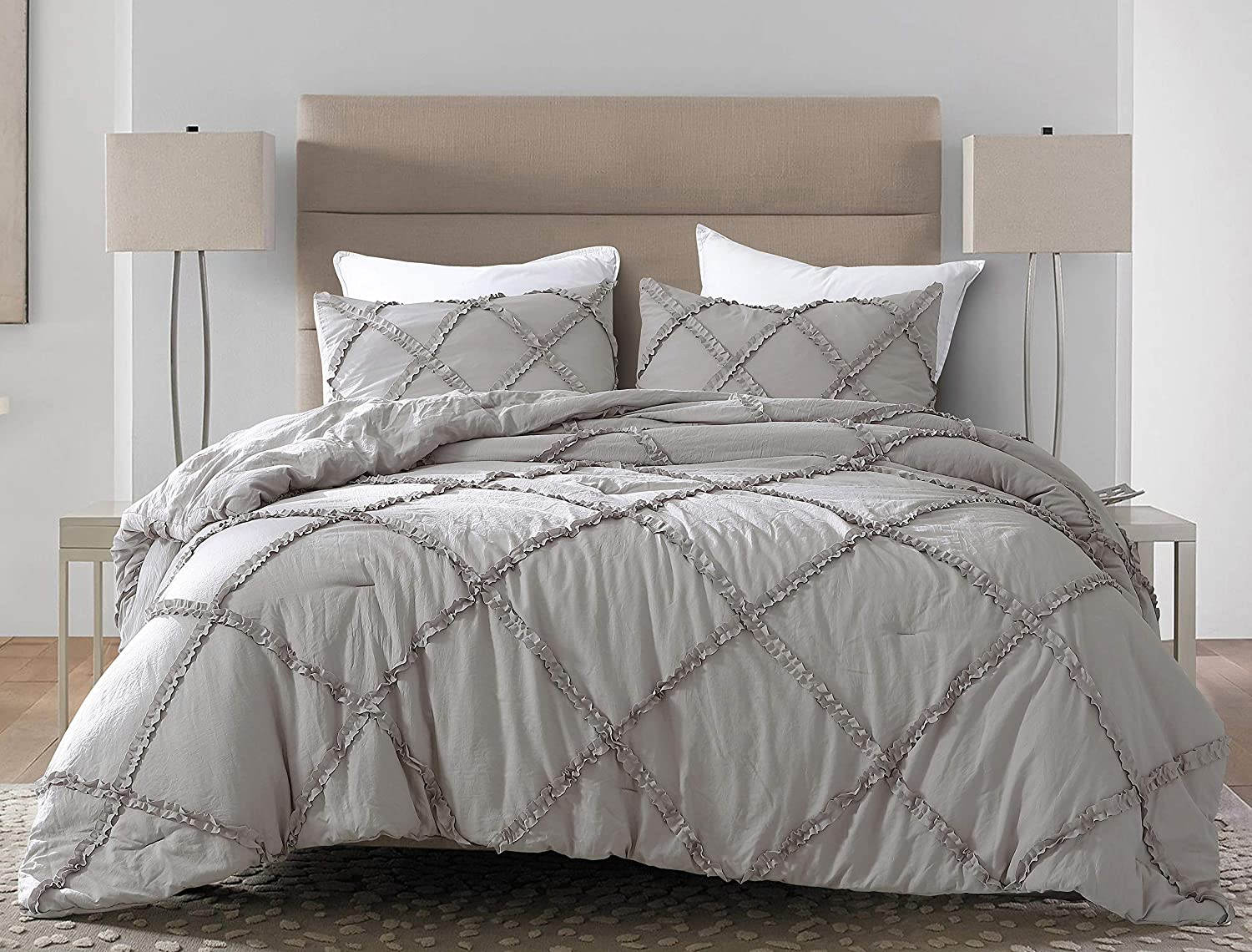 Chezmoi Collection Vivian 3-Piece Diamond Ruffle Quilted Trim Soft Washed Microfiber Comforter Set (Queen, Gray)