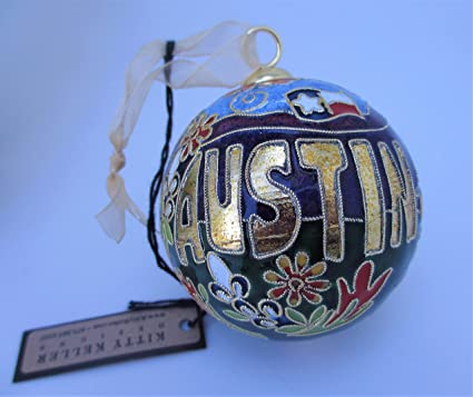 Amazon.com: Kitty Keller Austin TX Cloisonne Christmas Ornament ...