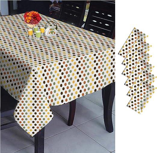 set de mantel + 6 servilletas [Mantel de tela impermeable y tamaño: 180 x 140 Cms;