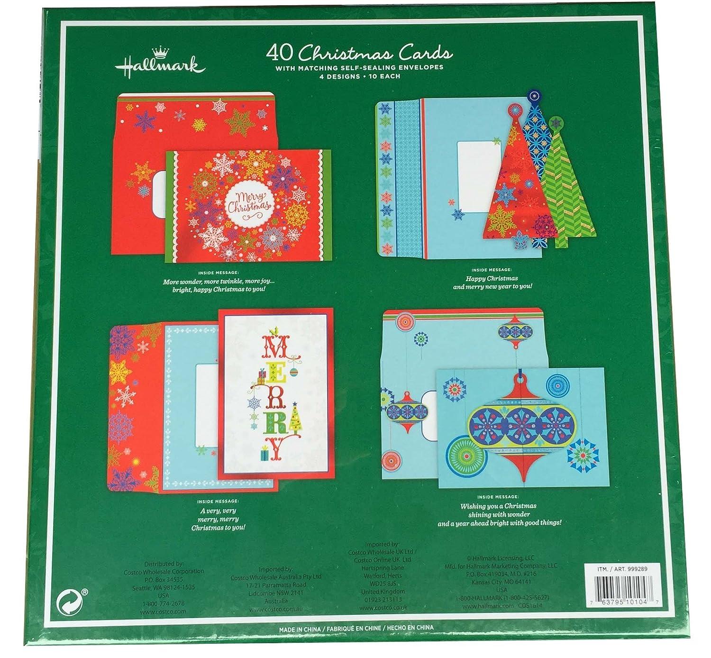 Hallmark 40 Christmas Holiday Cards With Matching Self Sealing Envelopes 4 Designs 10 Each Santa