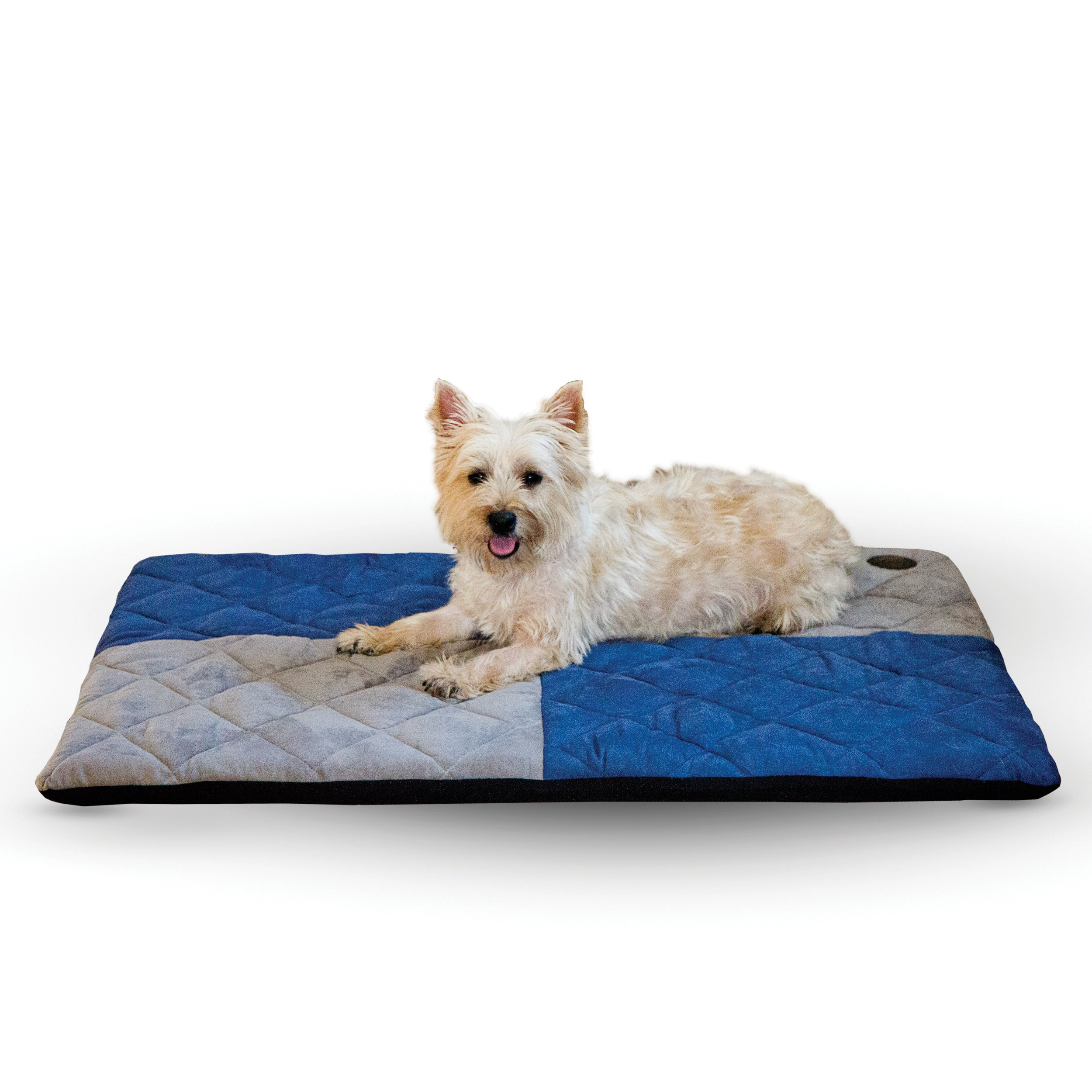 K&H Pet Products Quilted Memory Dream Pet Pad 2-Inch Medium  Blue/Gray 27-Inch by 37-Inch