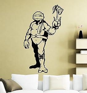 Raphael with Pizza Turtles Ninja Wall Decal Superhero Sticker Comics Art Home Decoration Any Room Waterproof Sticker (154su)