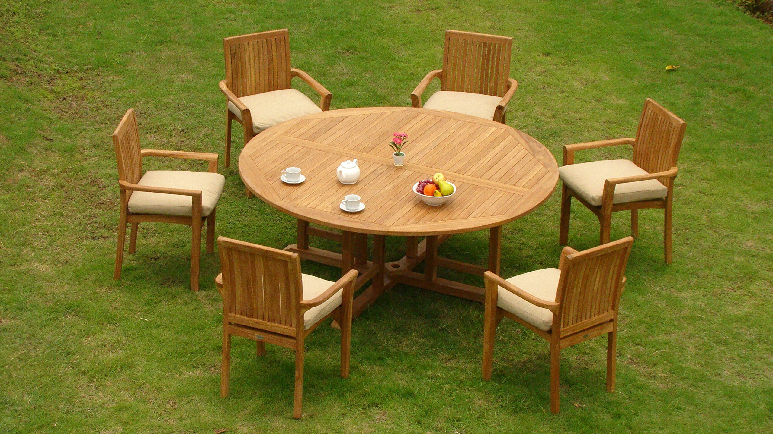 """New 9 Pc Luxurious Grade-A Teak Dining Set -72"""" Round Table And 8 Lua Stacking Arm Chairs #WHDSLU7 - Teak wood is an extremely dense course grained hardwood and is widely known for its durability. ADD SUNBRELLA FABRIC CUSHIONS BY SEARCHING ASIN """"B01I4CC166"""" or """"Wholesaleteak Dining Cushion"""" ON AMAZON, CUSTOM MADE FOR THESE STYLE CHAIRS Table Dimension: 72"""" Round Table, 30.5"""" H , 2"""" Umbrella Hole is in the center of the table. - patio-furniture, dining-sets-patio-funiture, patio - 91bOc3lyl3L -"""