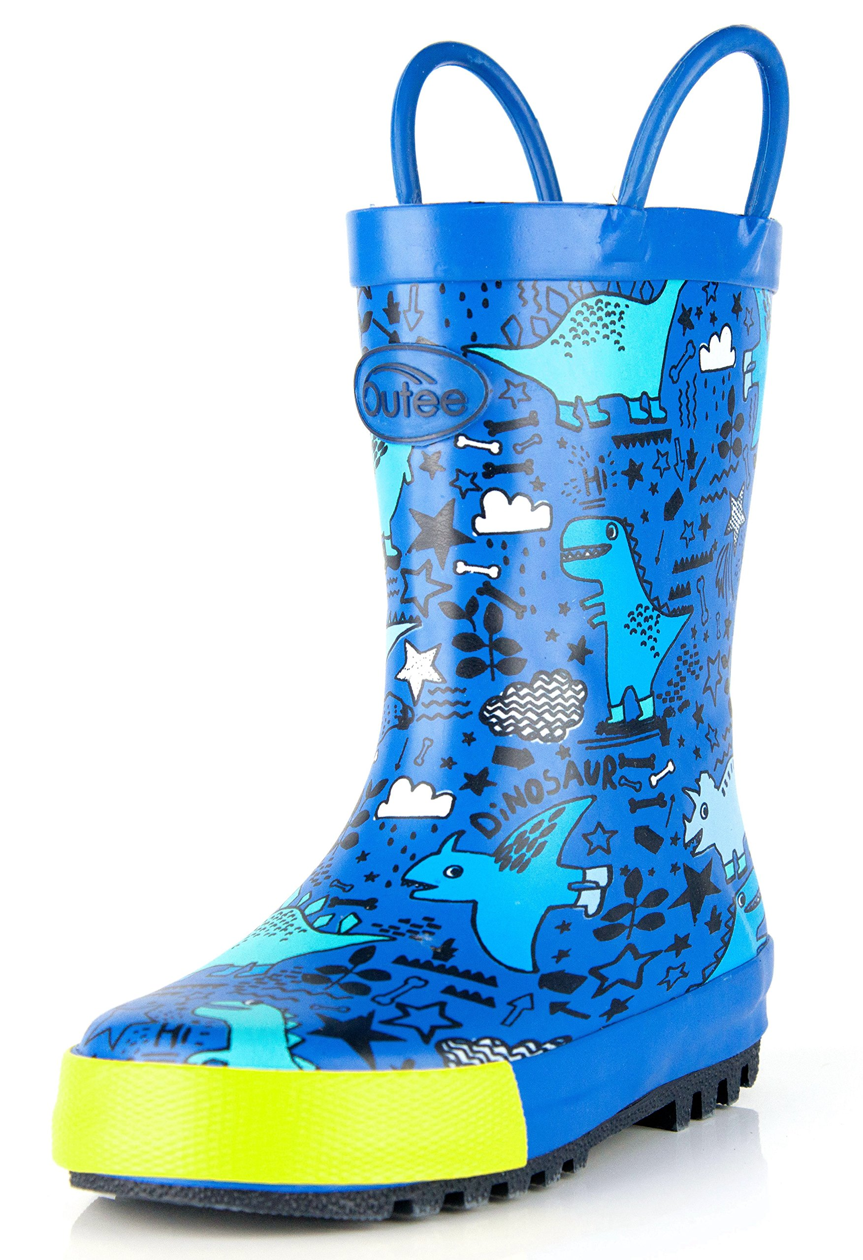 Outee Toddler Boys Kids Rubber Rain Boots Blue Waterproof Shoes Dinosaur Cute Print with Easy-On Handles Classic Comfortable Removable Insoles Anti-Slippery Durable Sole with Grip (Size 10,Blue)