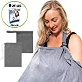 Breastfeeding Cover, Baby Nursing Cover Ups for Mum-Soft, Lightweight, Breathable -Multi-use Privacy Cover for Car Seat, Stroller -Perfect for Newborns-Free Wet Bag & eBook by Time2blossom (Grey)