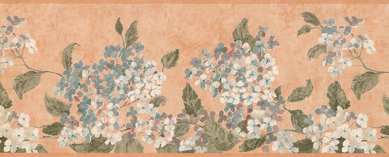 Blanc Fleurs bleues Miel Frise papier peint Motif r/étro Floral rouleau de 15/x 24,1/cm