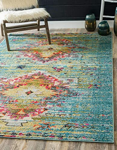 Unique Loom Vita Collection Traditional Over-Dyed Vintage Turquoise Area Rug 10' 6 x 16' 5