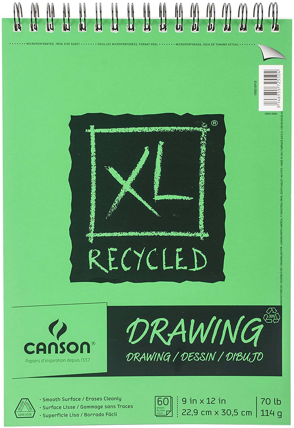 Canson XL Recycled Spiral Drawing Paper Pad 9-inch x 12-inch60 Sheets 702-2402