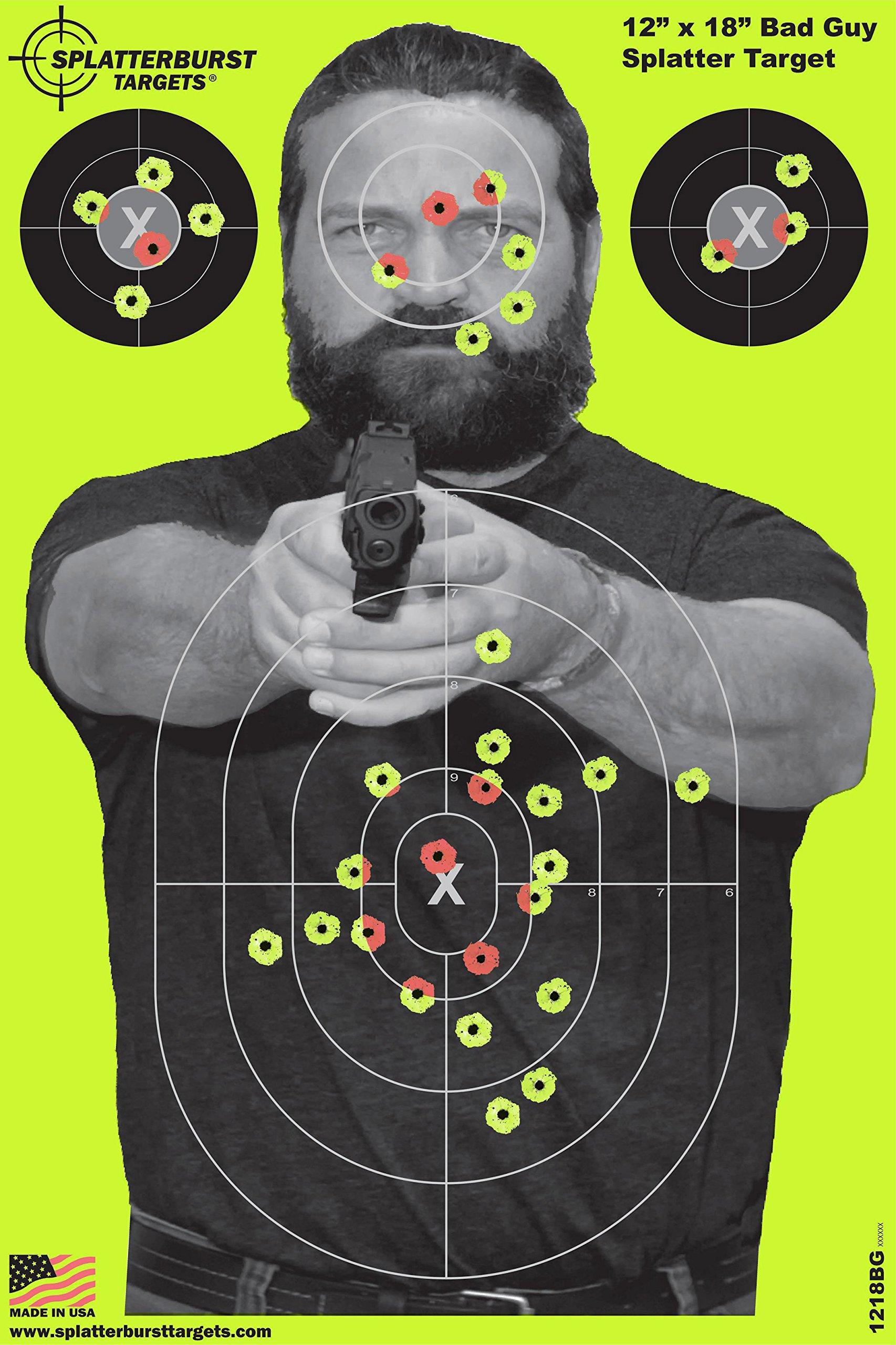 Splatterburst Targets - 12 x18 inch - Bad Guy Reactive Shooting Target - Shots Burst Bright Fluorescent Yellow Upon Impact - Gun - Rifle - Pistol - Airsoft - BB Gun - Air Rifle (10 Pack)