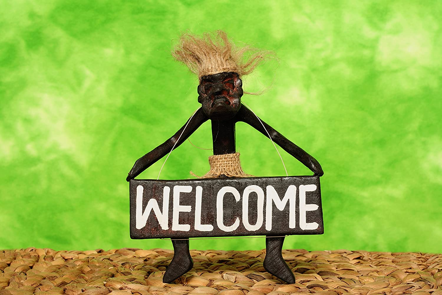 G6 Collection Handmade Wooden Primitive Tribal Statue Holding Welcome Sign Wall Sculpture Tiki Bar Handcrafted Unique Gift Art Decorative Home Decor Accent Figurine Decoration Artwork Hand Carved
