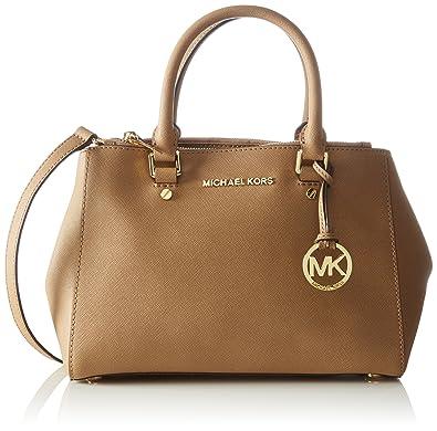 22f136ef842b Michael Kors Women's Sutton Small Saffiano Leather Satchel Top-Handle Bag  Brown Dark Khaki: Amazon.co.uk: Shoes & Bags