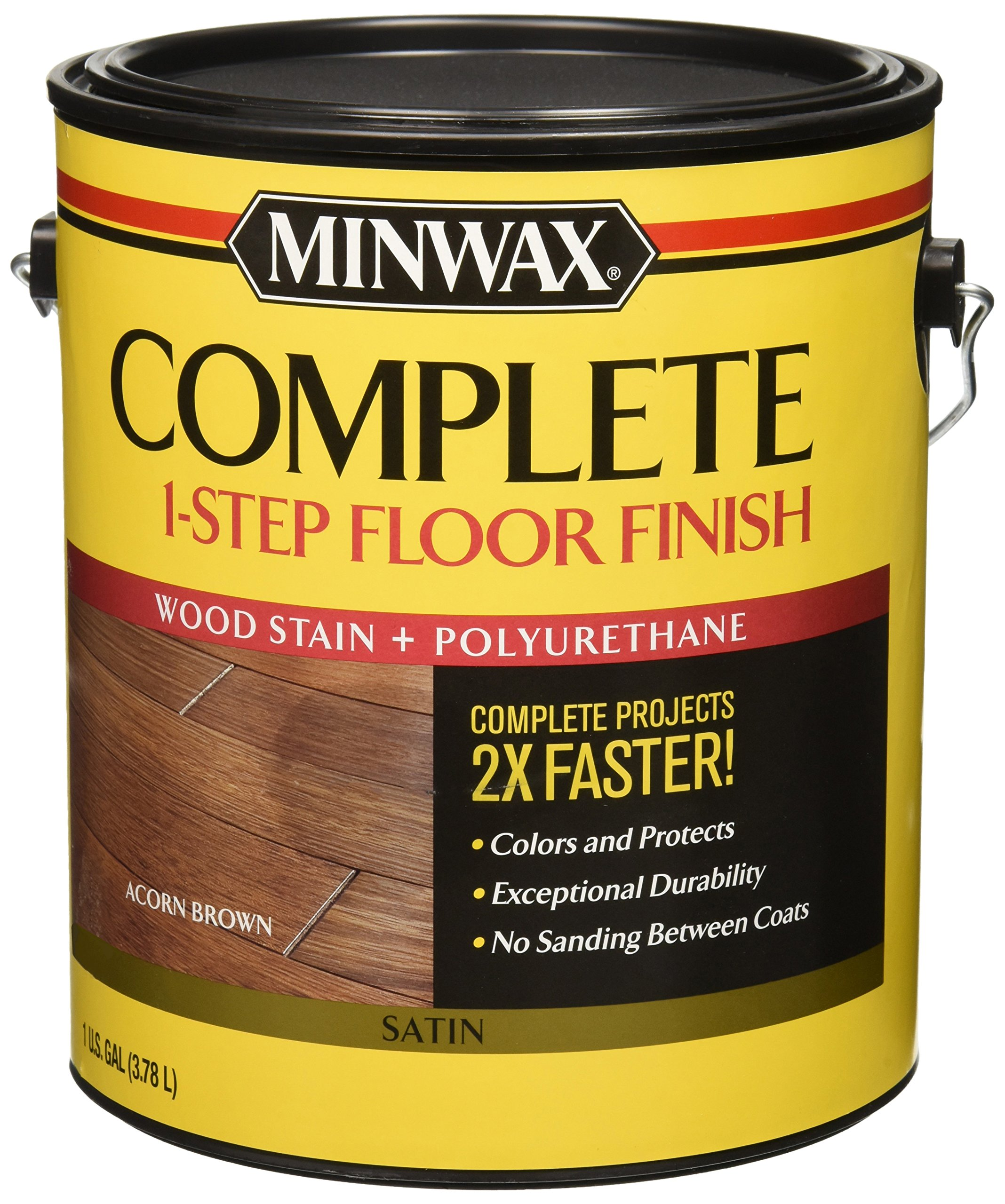 Minwax 672030000 1G Satin Acorn Brown Complete 1-Step Floor Finish