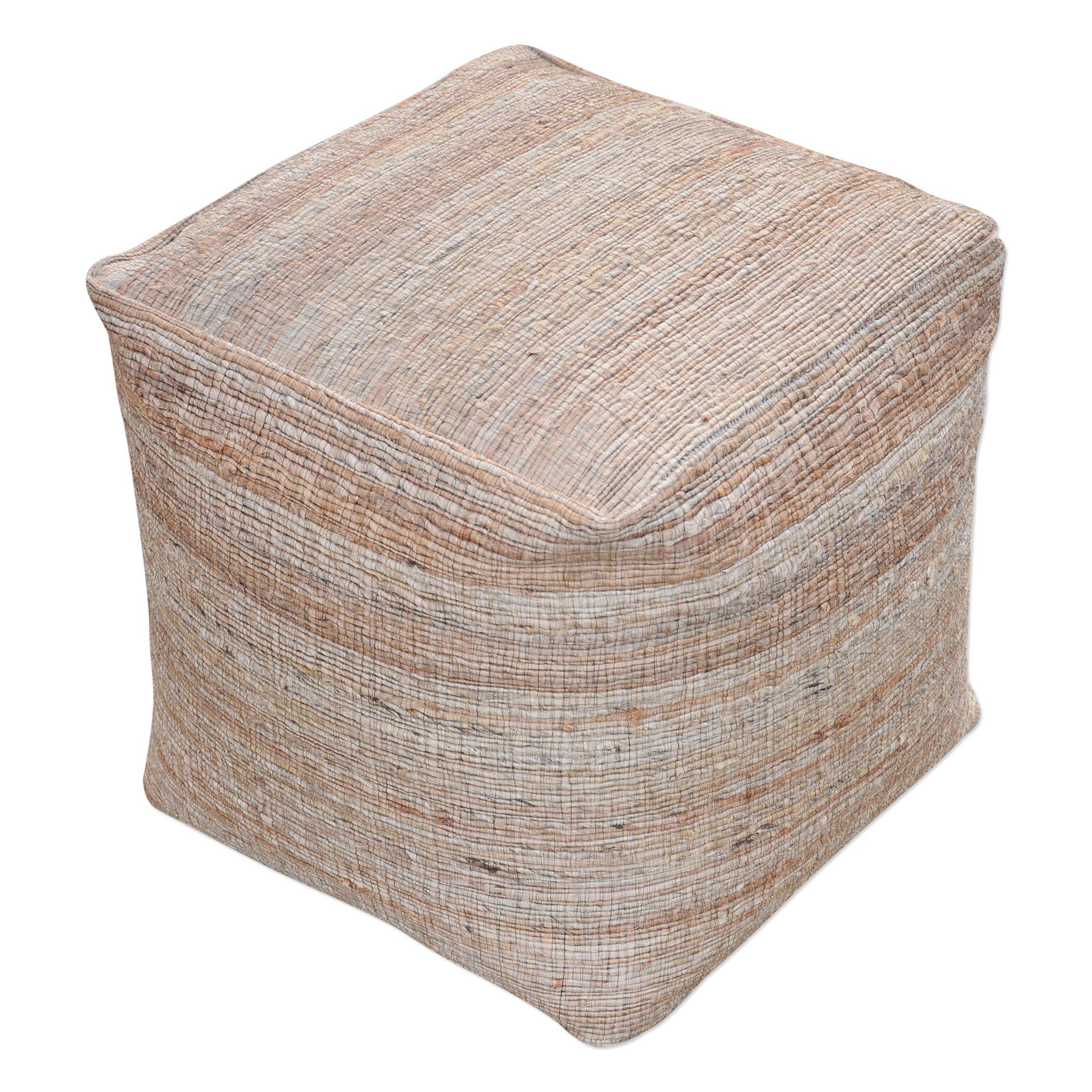 Soft Striped Brown Tan Pouf | Natural Hemp Cube Earth Tones Neutral Seat Square