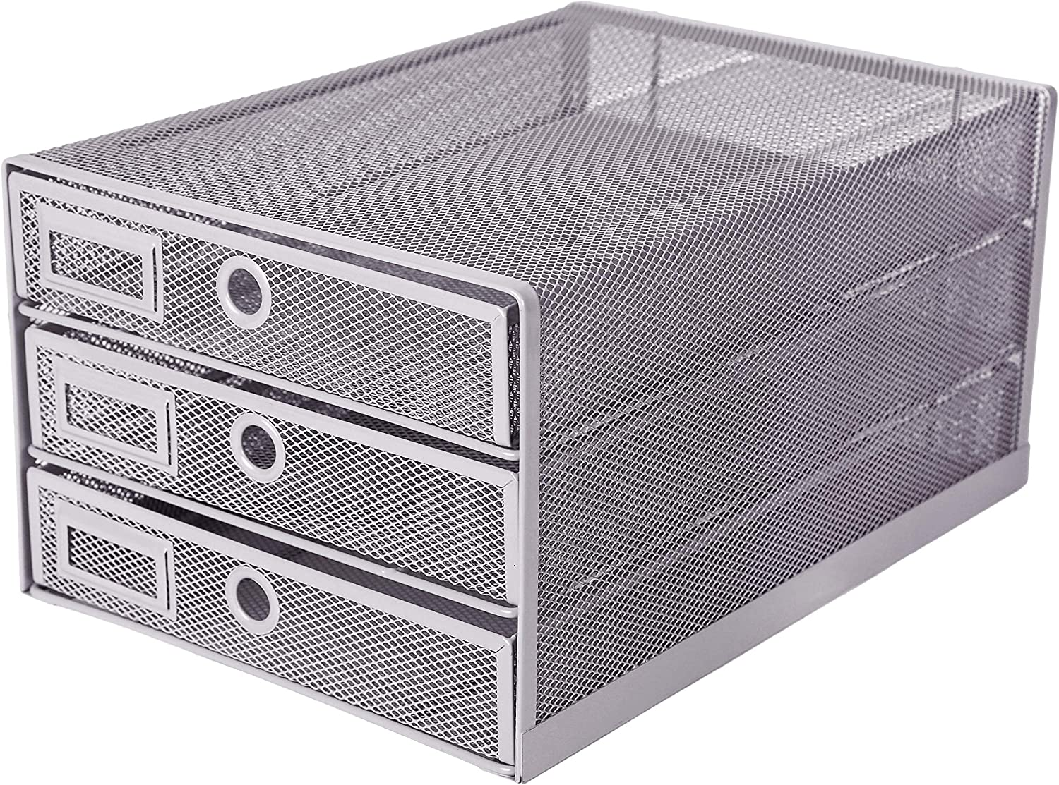 Exerz Desk Organizer Wire Mesh 3 Tier Sliding Drawers Paper Sorter/Multifunctional/Premium Solid Construction for Letters, Documents, Mail, Files, Paper (Silver EX3205)