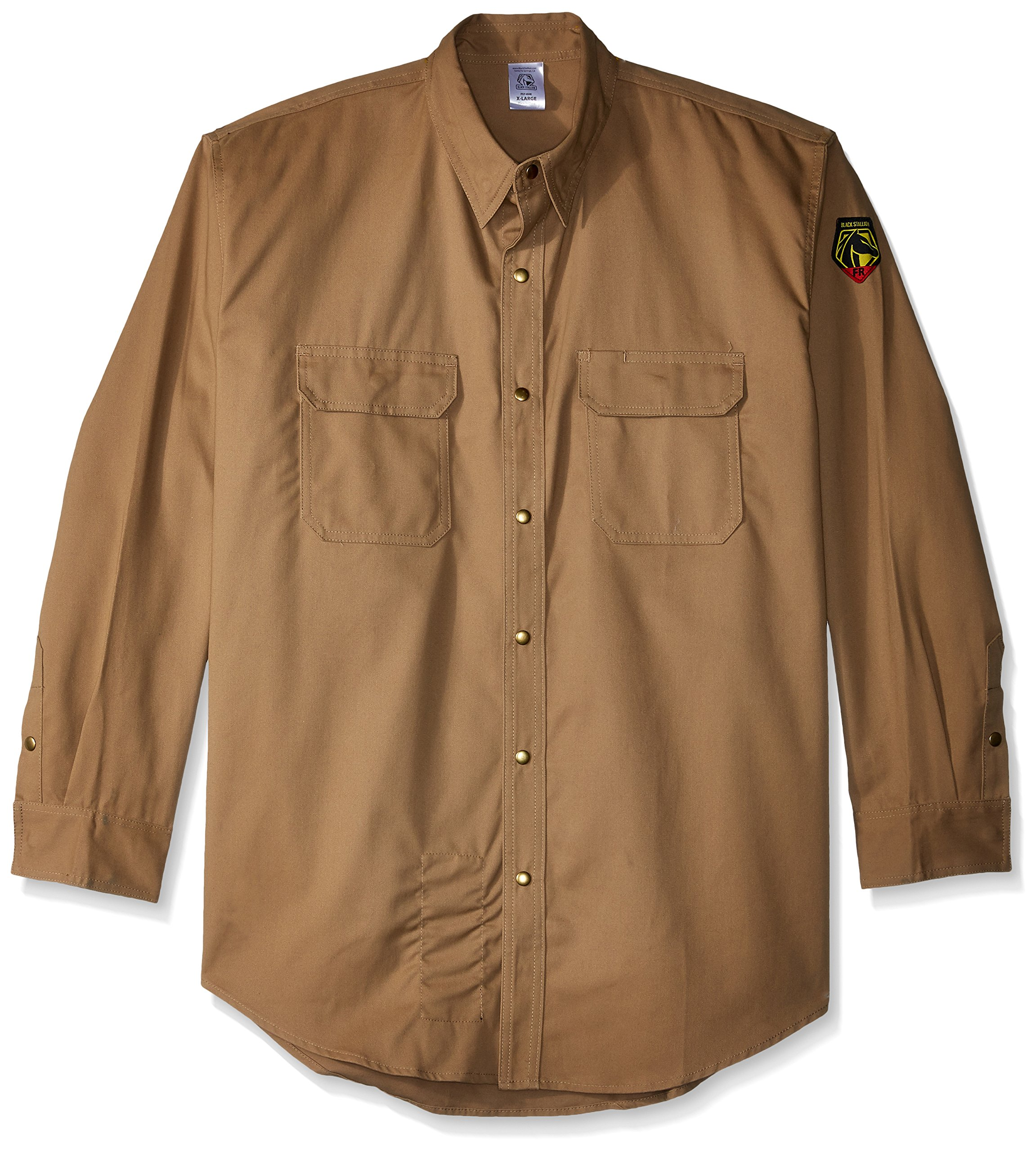 Revco - FS7 - Khaki - Xlarge Stallon FR Flame Resistant Cotton Work Shirt, FS7-KHK, Black, X-Large