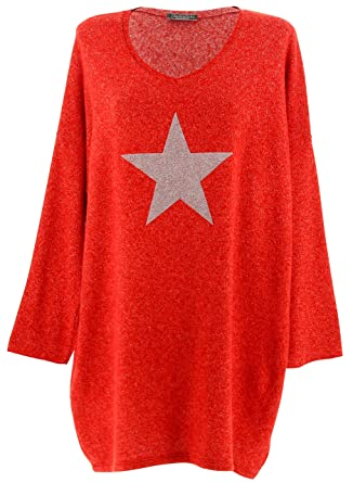 1b6c36087c8 Charleselie94® - Pull Long Grande Taille Laine Angora Rouge Galaxie Rouge -  42