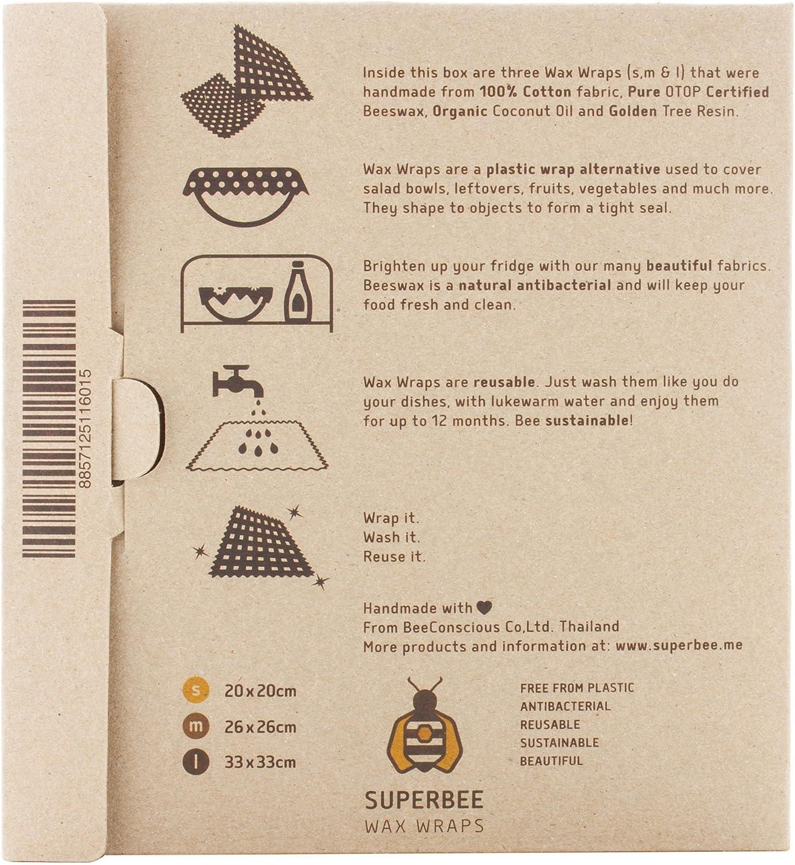 Superbee Beeswax Wrap BeeIndigo New Designs Set of 3: Small Medium and Large