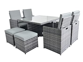 Black 4-8 Seater Waterproof Garden Patio Ratten Cube Table Chair Furniture Cover
