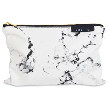 Luxe B Marble Big Makeup Bag Gold Zipper Travel Size Large Cosmetic Cute  Makeup Case Train f73e75a2fe795